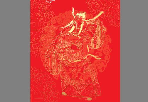 剪纸图案模板psd素材天官赐福中国传统人物剪纸素材下载