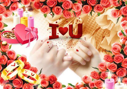 情人节海报素材_情人节背景psd素材心形玫瑰花瓣背景勾勾手指头图片模板