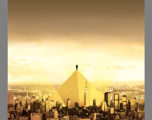 雄伟的金字塔建筑psd素材气势恢宏的城市金字塔建筑