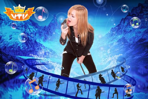 ktv海报模板psd素材唱歌的金发美女舞厅卡拉ok海报模板