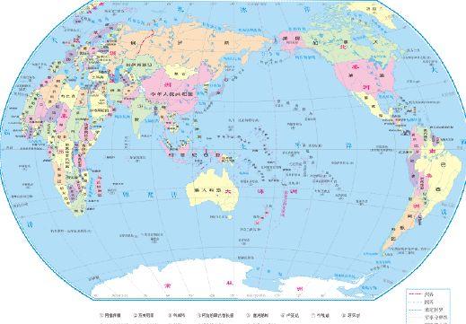 世界地图psd素材中文版世界七大洲五大洋地图2.5x1