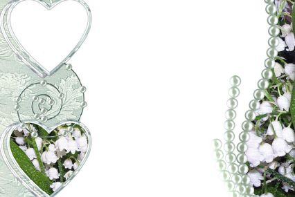情侣照片边框模板psd素材两个珍珠心形边框情侣照片