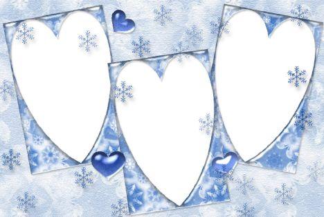 多图照片边框模板psd素材雪花背景三个心形照片边框模板下载-影楼模