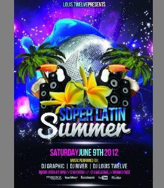国外舞厅海报模板psd素材夏日派对欧美舞厅宣传广告模板