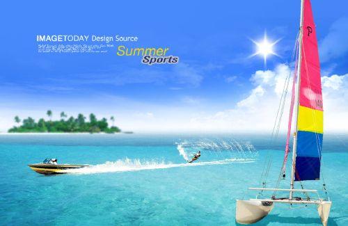 滑冰白色模板psd蓝色素材热带皮划艇帆船的模板海报旅游宣传海报海水速度旅游游戏大全图片