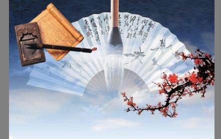 中国风元素模板psd素材蓝天白云扇子背景笔墨梅花图片