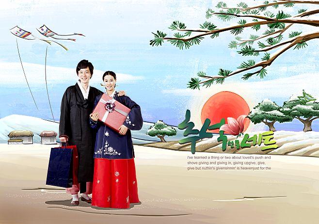 韩国手绘家居情景插画风格背景人物写真相册模板psd素材二十全套共20p