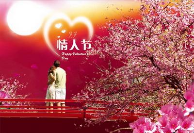 樱花树下肩并肩看月光的情侣心形月光七夕情人节psd
