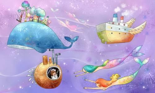 潜水艇美人鱼童话海底世界韩国矢量手绘风格卡通人物分层背景psd素材