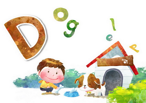 喂狗吃骨头的小男孩d-dog韩国幼儿卡通风格识字卡片模板psd素材免费
