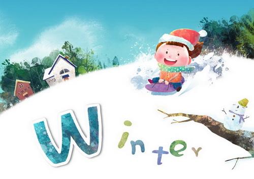 冬天雪地滑雪的小男孩w-winter韩国卡通风格通风格识字卡片模板psd