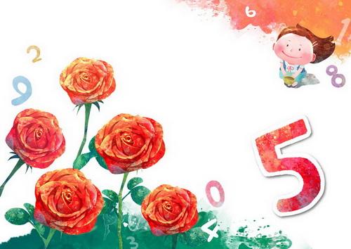 采了五只玫瑰花的小女孩阿拉伯数字5韩国卡通风格通