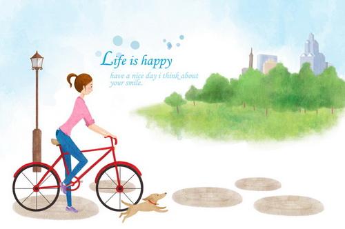 壁纸卡通情侣自行车图片