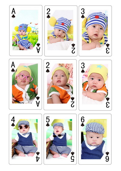创意个性照片扑克牌模板梅花a-2-3黑桃a-2-3梅花4-5