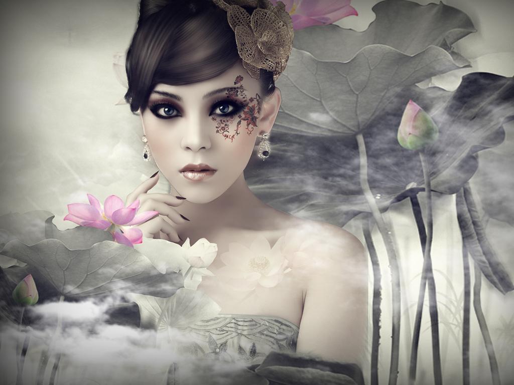 ps合成中国风水墨风格美女照片的详细教程中国资源
