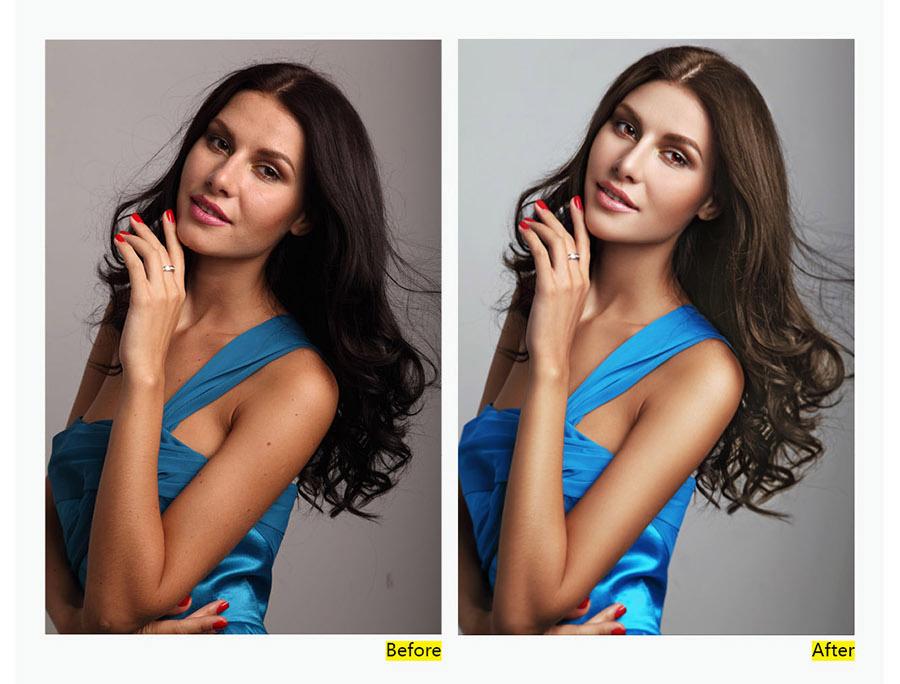 PhotoShop商业杂志封面模特人像修图教程[中