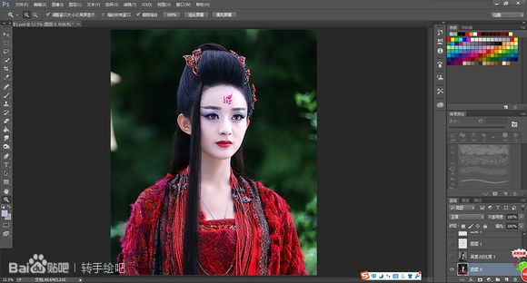 photoshop黑白叠色法打造花千骨转手绘风格照片后期