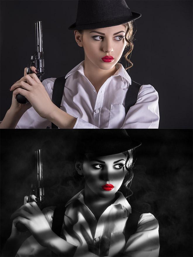 photoshop打造持枪女郎经典的黑白电影海报效果后期调色教程