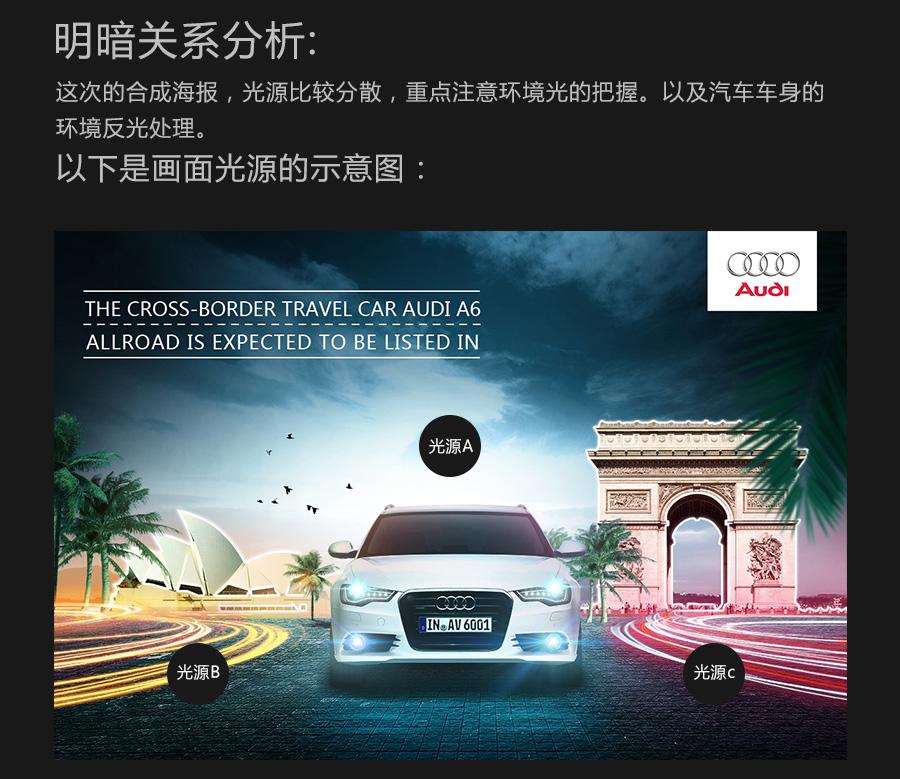 ps后期设计制作酷炫奥迪汽车广告海报教程