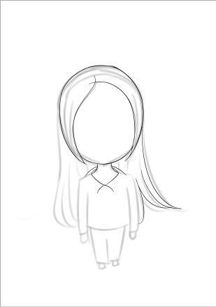 ps一个穿校服的可爱女孩大头q版画绘制作简单过程[网