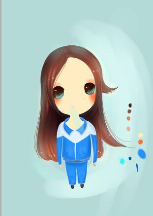 PS一个穿女生的可爱泳衣版画Q大头绘制作简什么校服适合肩宽女孩图片