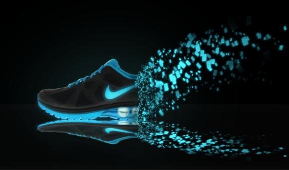 pscs5制作一个创意莹光发散消失的nike耐克鞋广告[网图片