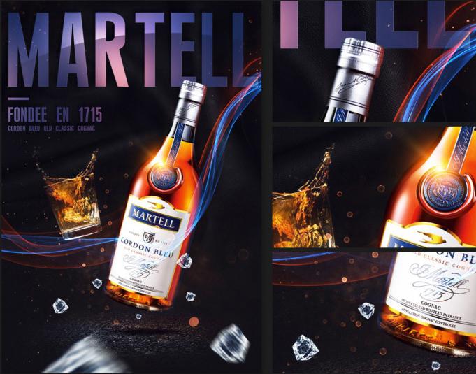 创意打造炫光视觉马爹利蓝带高端酒海报设计