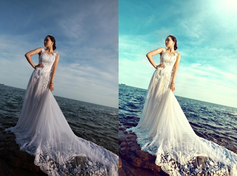ps外景海边婚纱照片欧美色调效果后期调色教程