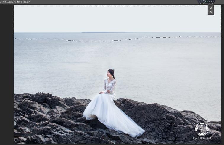photoshop灰蒙蒙的海边婚纱照夕阳效果后期修图教程