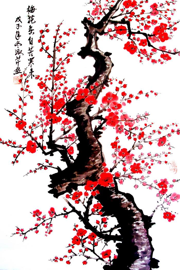 水墨梅花开春图中国水墨画电视背景墙高清图片素材,图片大小