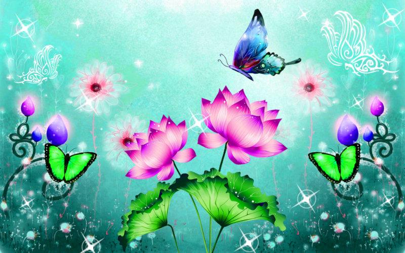 漂亮的精灵图片矢量荷花路径光斑韩国v精灵ps风格中描荷叶绘制边蝴蝶ps图片