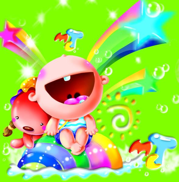 可爱的卡通星光背景抠好的卡通单齿男孩儿童节设计素材psd模板免费