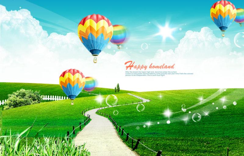 白云背景热气球图片韩国