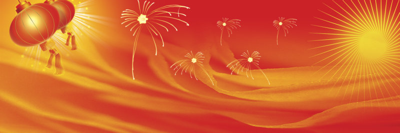 卡通喜庆灯笼红太阳高高挂红色喜庆背景psd素材