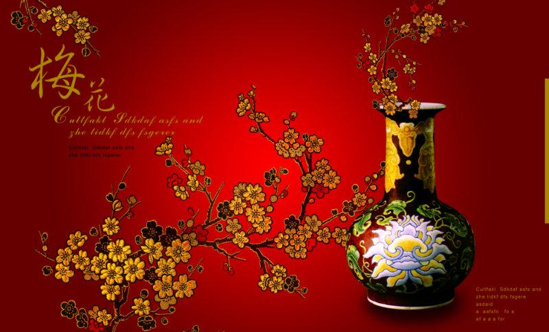 中国传统梅花背景陶瓷花瓶中国风psd设计素材
