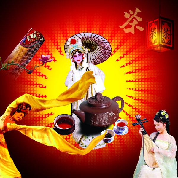 中国古代四大美女人物背景茶具广告psd素材