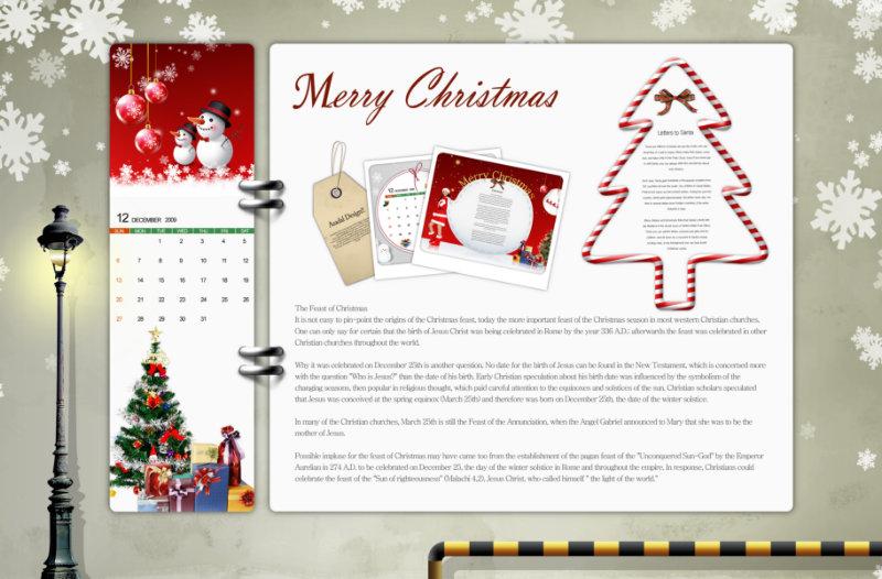圣诞雪花背景圣诞树圣诞贺卡圣诞节psd模板素材图片