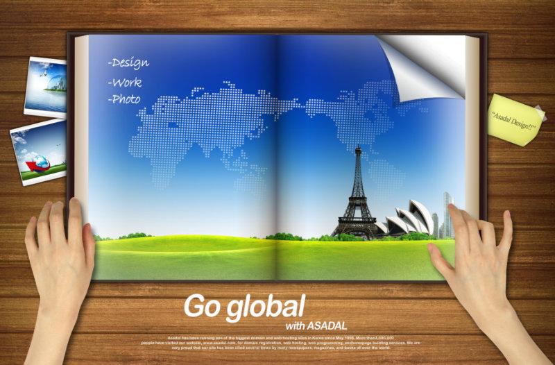 厚厚的空白书本背景韩国相框psd模板素材免费下载