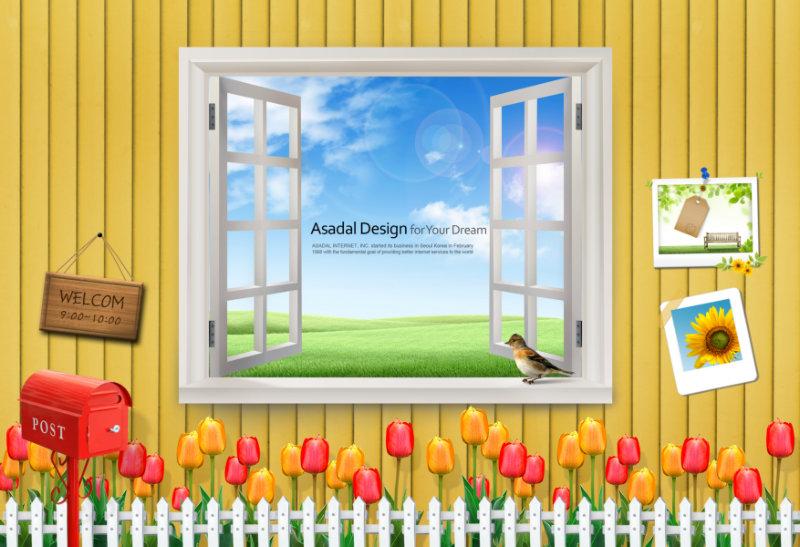 温馨黄色木板背景家居窗户装饰韩国相框psd模板下载
