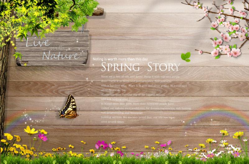 木板背景小花小草前景飞舞的小蝴蝶可爱的韩国相框psd