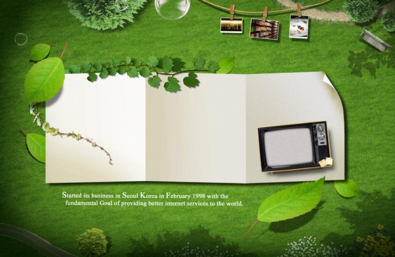 绿草地背景白色三折页背景韩国风格照片边框psd模板素材