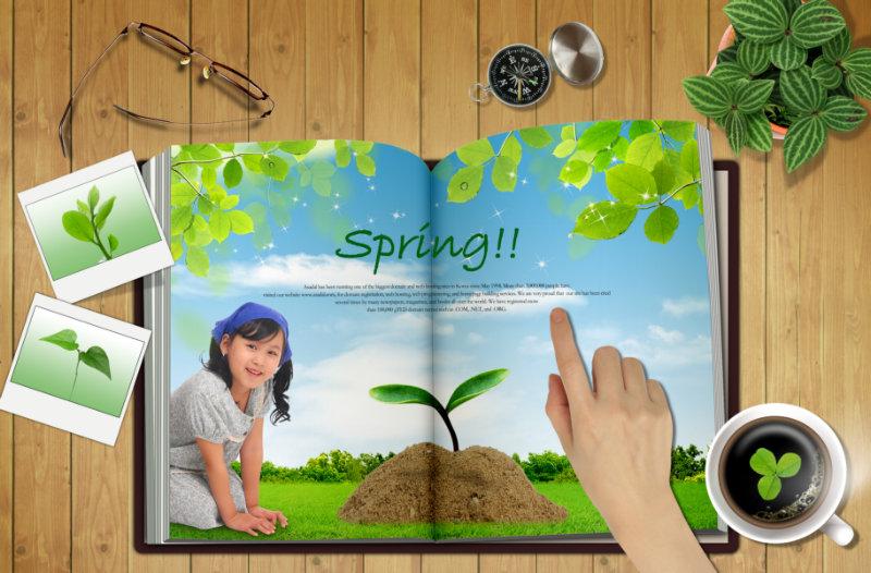 木板背景空白书本桌面剪贴风格韩国相框psd模板下载