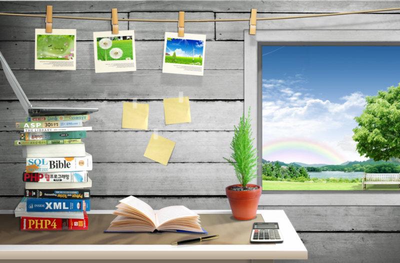 小木屋背景挂在墙上的小照片便签纸等韩国相框psd
