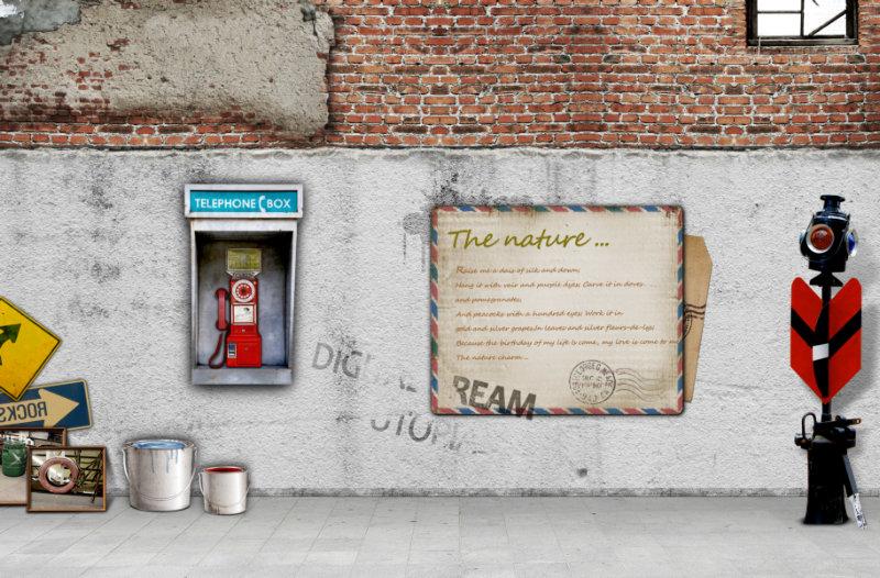 怀旧墙面背景交通灯油漆桶等韩国设计素材psd模板