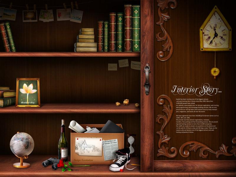 种子粘贴画钟-傍晚天空剪贴画-韩国书房书架闹钟地球仪剪贴素材psd模板下载