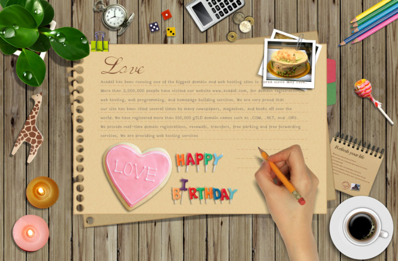 生日生活背景_Love生日快乐书信背景棒棒糖铅笔生活主题剪