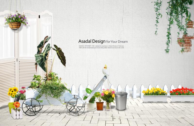 庭院白色墙面木栅栏背景韩国设计素材psd模板
