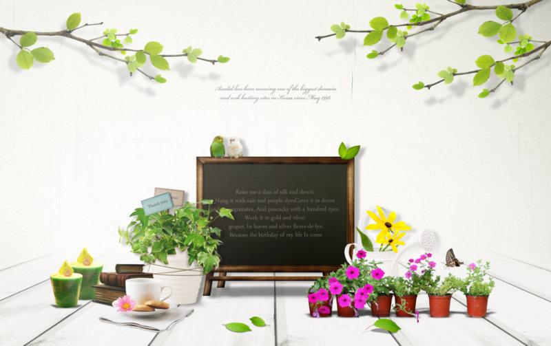 小花盆小黑板小花等可爱的韩国设计素材psd模板