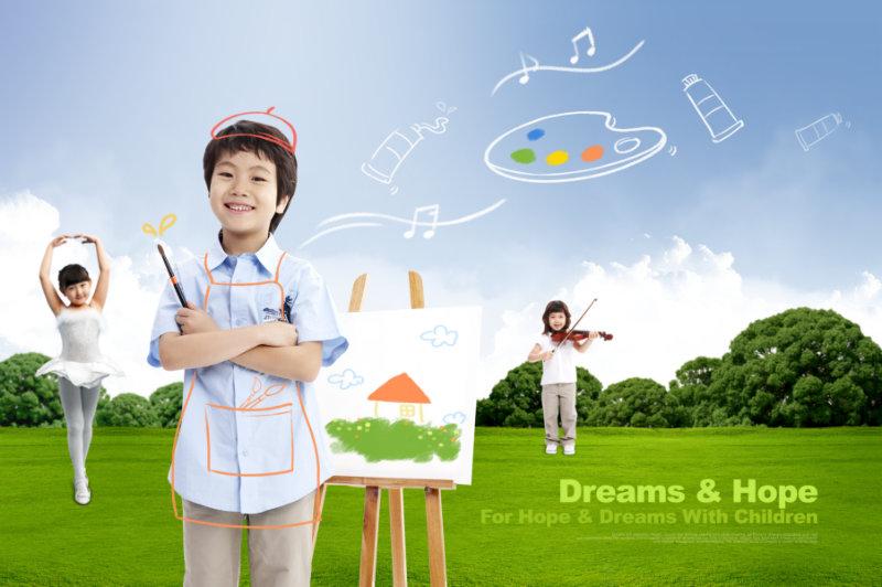 创意手绘抽象物品帅气的小男孩跳芭蕾的小女孩psd模板素材
