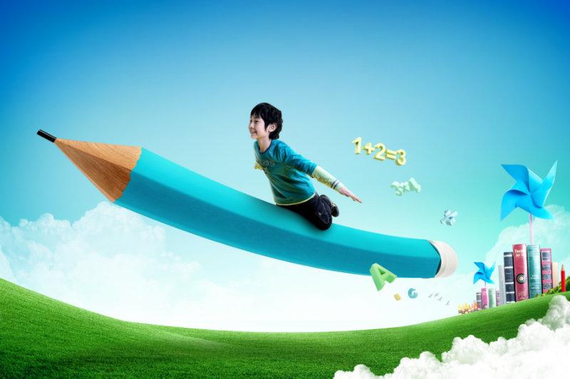 蓝天白云风车书本背景坐在铅笔上飞翔的小学生psd模板素材下载图片